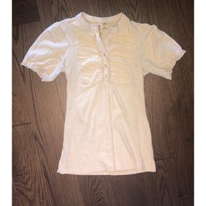 Mid neck short sleeve T-Shirt with ruching